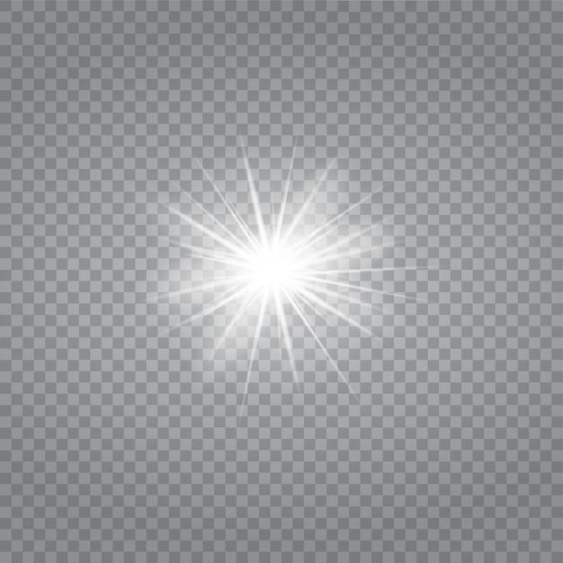透明な白い輝く光バースト爆発。