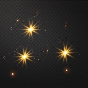 透明な黄色の輝く光バースト爆発。