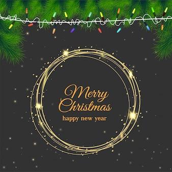 クリスマス灰色の背景にグリーティングカードが輝く。
