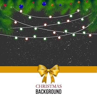 グレーの背景にクリスマスの挨拶状。