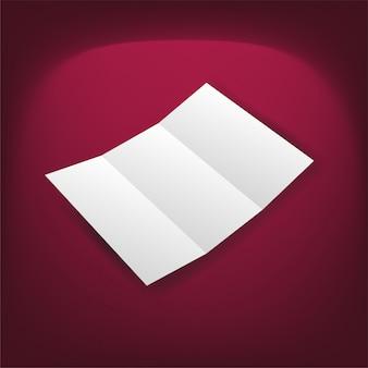 Пустой белый складной бумажный слой