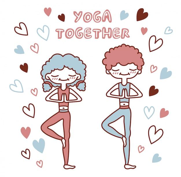 Изолированная иллюстрация с милыми людьми в представлении дерева окруженном сердцами. влюбленная пара, занимаюсь йогой. надпись йоги вместе.