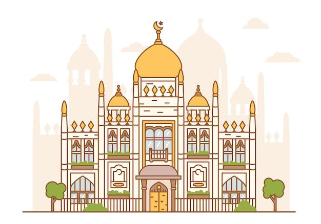 Иллюстрация мечети султана сингапура. арабская архитектура, культовое сооружение. купола, минарет, башни, полумесяц со звездой. исламская вера