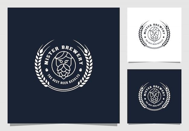 醸造所のビンテージロゴプレミアムデザイン