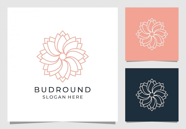 Цветочный логотип с бутоном круглого стиля