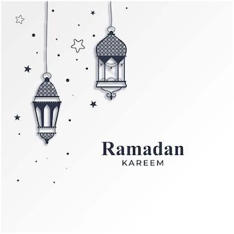 Рамадан карим сезон фон с подвесными светильниками