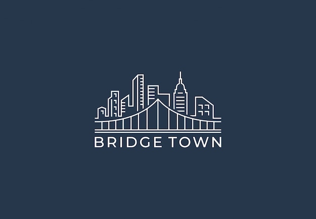 Дизайн логотипа моста города в стиле моно линии