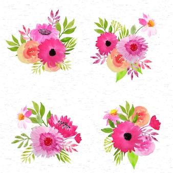 ピンクのフラワーアレンジメントの水彩画コレクション