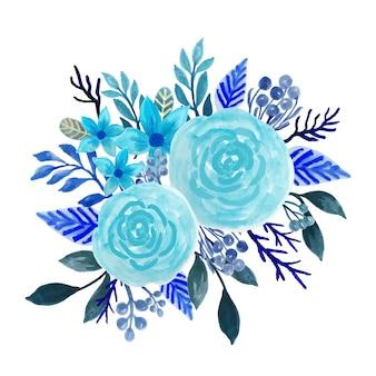 青い花ブーケ水彩画