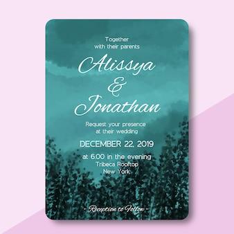森林景観の水彩画との結婚式の招待カード