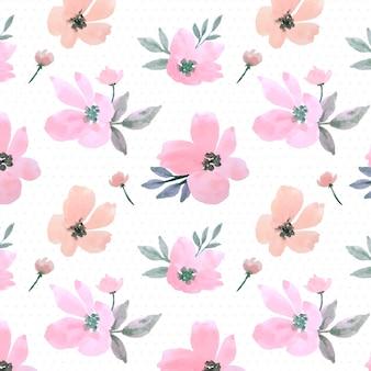 ピンクのパステル水彩花葉のシームレスパターン