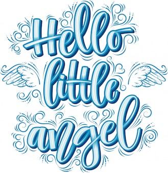こんにちは、白で隔離される青い碑文の小さな天使レタリング