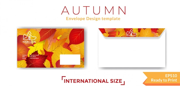 秋の封筒テンプレート