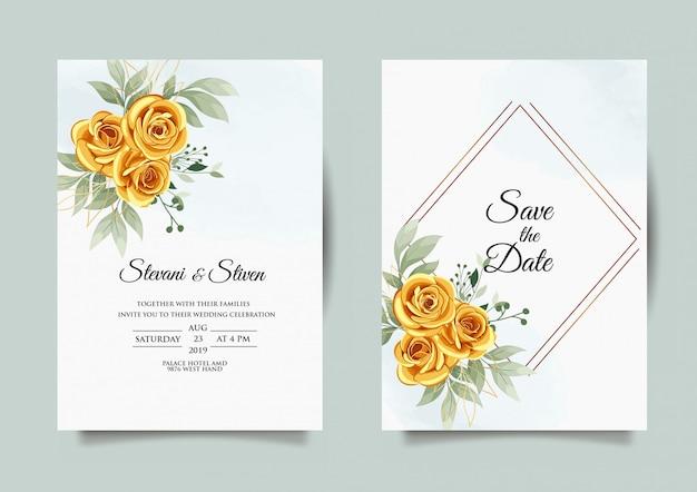 Шаблон свадебного приглашения с золотым и зеленым цветом