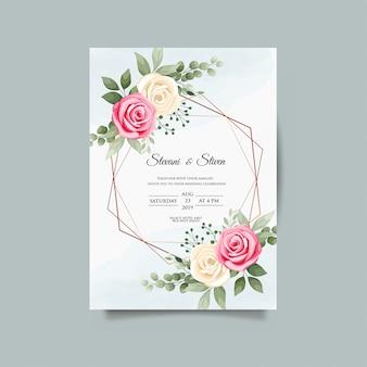 Шаблон свадебного приглашения с цветком красоты