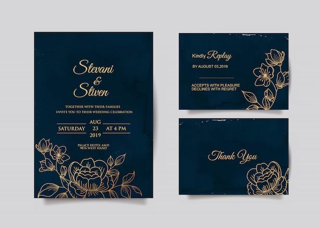 Шаблон свадебного приглашения с золотым и синим цветом