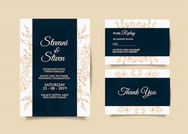 Шаблон свадебного приглашения с синим и золотым цветом