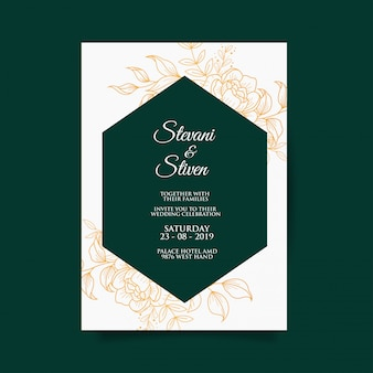 Шаблон свадебного приглашения с золотом и темно-зеленого цвета