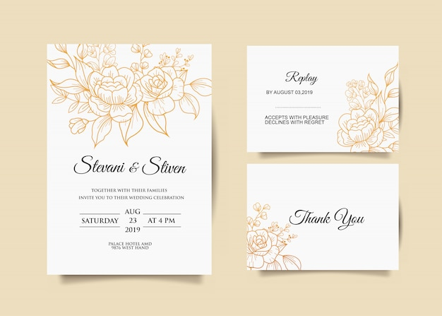 Шаблон свадебного приглашения с золотым цветком
