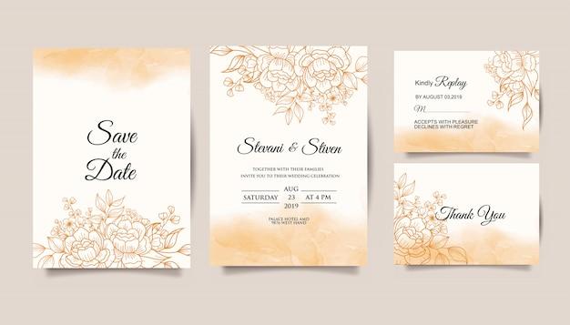 Установить свадебные приглашения шаблон с золотым цветком