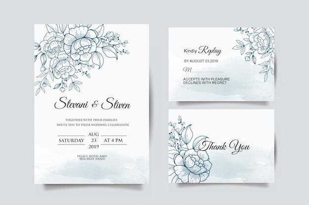 青い花の結婚式の招待状のテンプレート