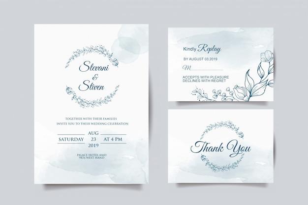 Шаблон свадебного приглашения с голубым цветком