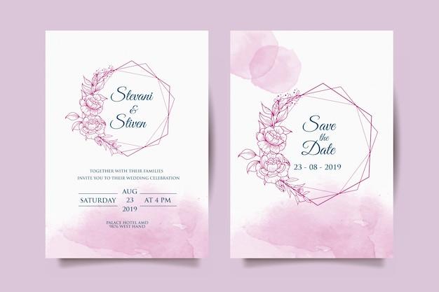 紫色の花と結婚式の招待状のテンプレート