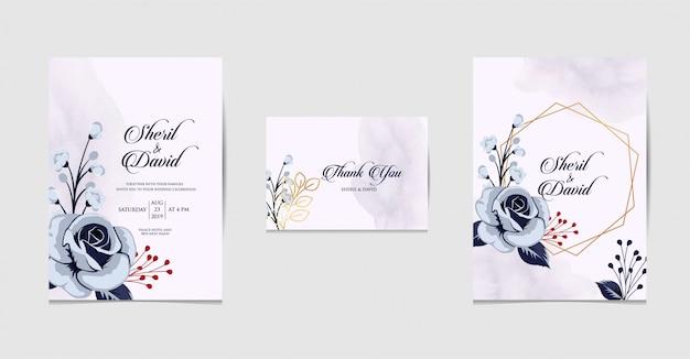 青い色で結婚式招待状を設定します