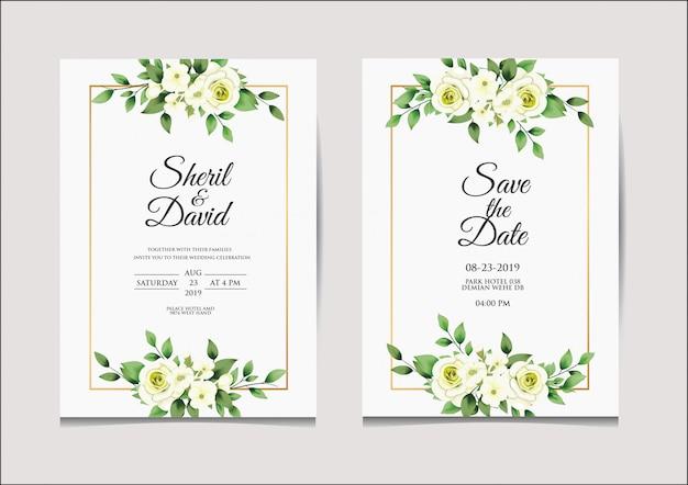Шаблон свадебного приглашения белый и зеленый стиль