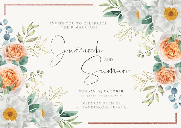 花の水彩画の背景を持つエレガントな結婚式の招待状