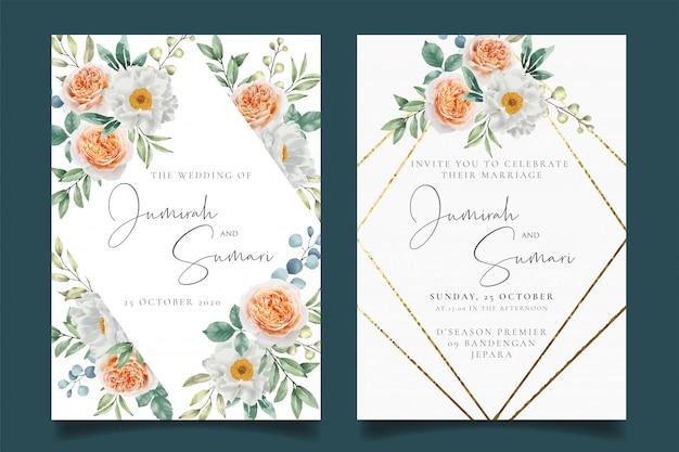 花のフレームとエレガントな結婚式の招待状