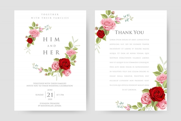 Свадебные приглашения с красивым цветочным и листьями шаблон