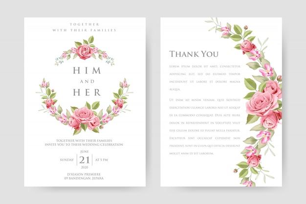 美しいピンクのバラと葉の結婚式の招待カード