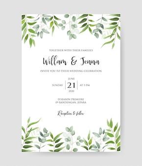 Красивое свадебное приглашение с эвкалиптовыми ветвями декоративный образец венка & структуры.