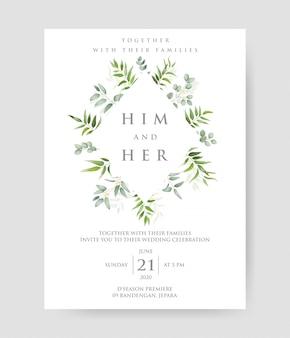 ユーカリの枝フレームとシンプルな結婚式の招待状。