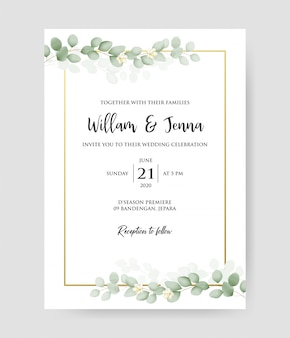 Простое приглашение на свадьбу с золотой рамкой и эвкалиптовыми ветвями.