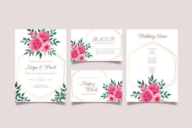 Розовое и зеленое свадебное приглашение с золотой рамкой