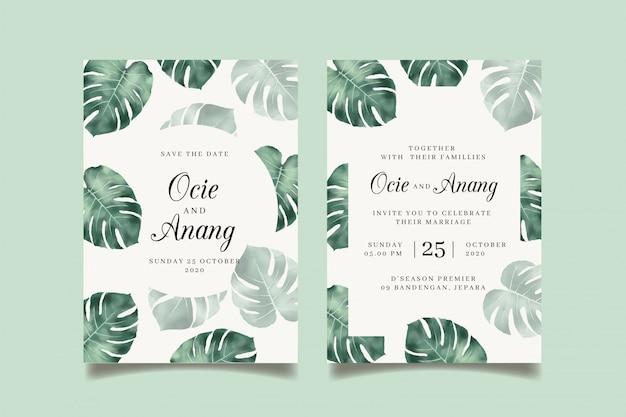 水彩トロピカル葉の結婚式の招待状