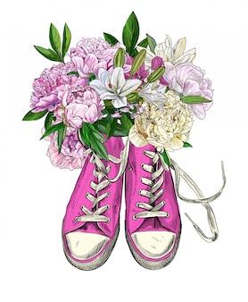 牡丹、新鮮で豪華な花束とピンクのビンテージスニーカー