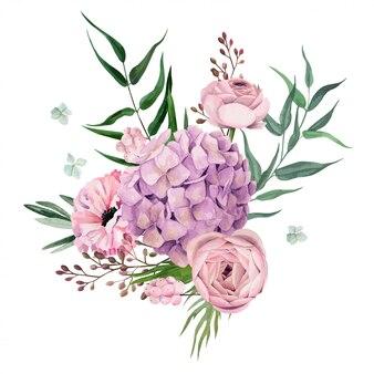 Акварель цветочная композиция, рисованной