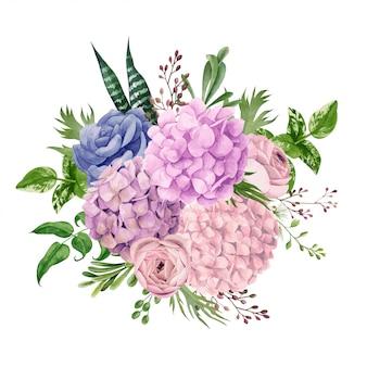 緑豊かなピンクのアジサイの花束、上面図、手描き
