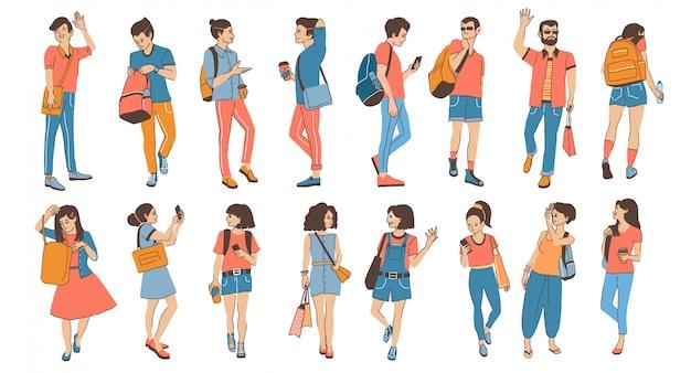 Набор молодых прогулок и общения людей, женщин и мужчин
