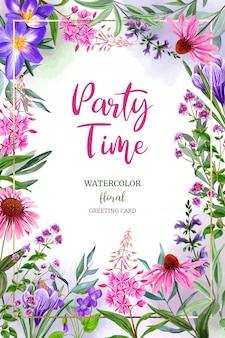 Шаблон поздравительной открытки акварель полевые цветы, розовый и фиолетовый