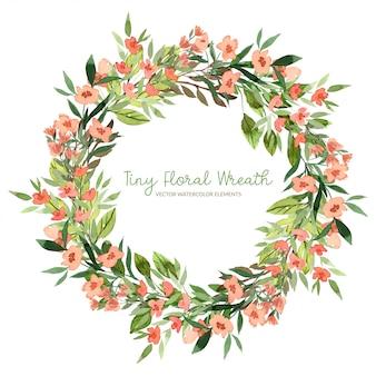 Крошечный венок, акварельные листья, красные цветы