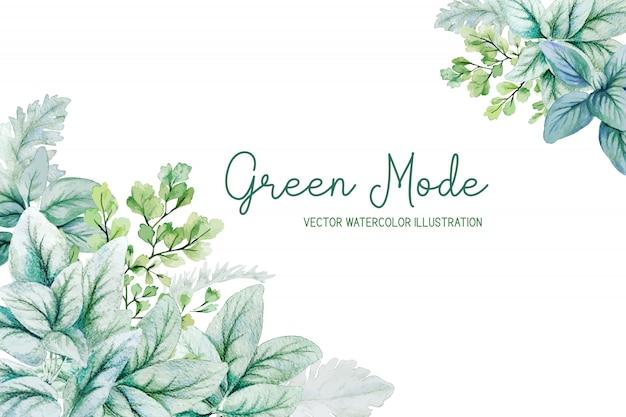 Акварельные листья уха ягненка и серебряные листья, угловая рамка