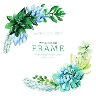 明るいフルカラーの多肉植物で構成される水彩画リースフレーム