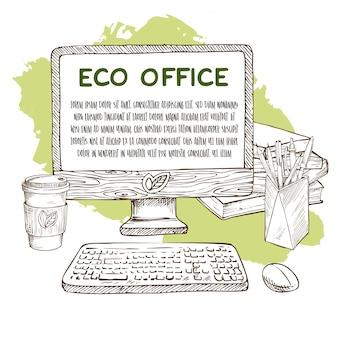 Ручной обращается деревянный компьютер с кофе, книги и ручки с карандашами. векторная иллюстрация эскиз.