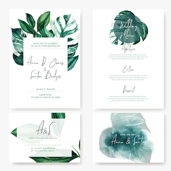 Комплект свадебных карточек с листьями монстера