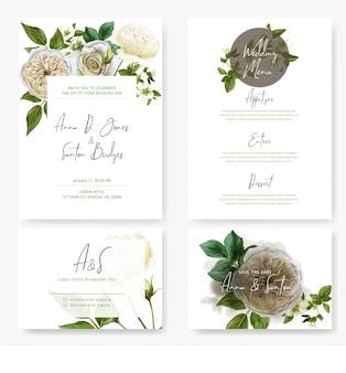 Свадебный канцелярский набор с акварельными белыми розами