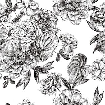 ヴィンテージの花のイラスト、手描きのクリップアートをエッチングします。